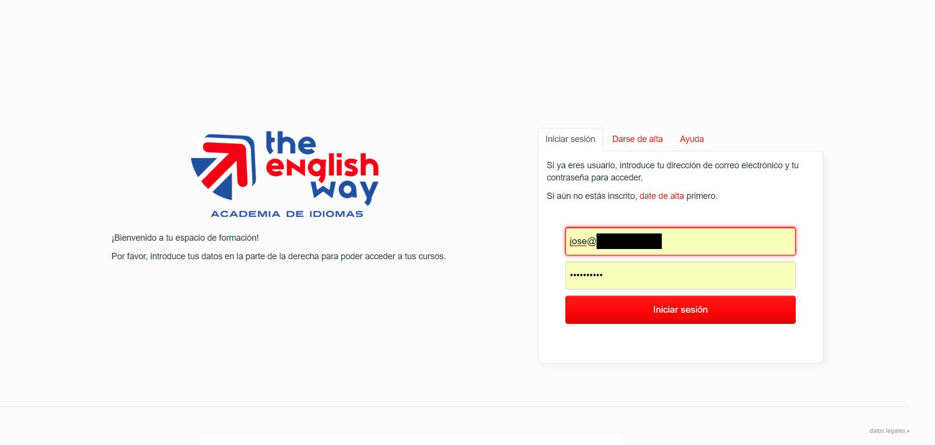 Acceso a curso de inglés online